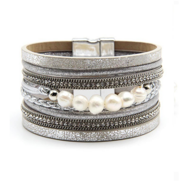 Silver Leather Magnetic Pearl Bracelet with Crystals