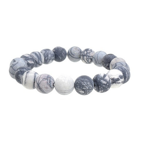 Grey Semi Precious Stretch Bracelet