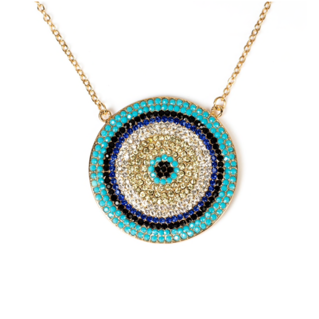 Multi Color Cubic Zirconia Evil Eye Pave Pendant Necklace