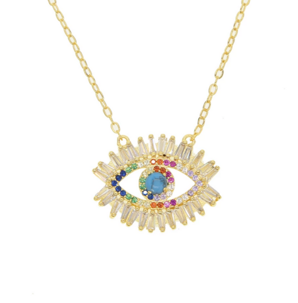 Gold Multi Color Cubic Zirconia Eye Pendant Necklace