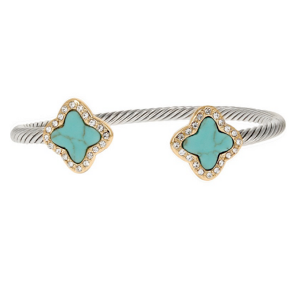 Two Tone Open Cuff Turquoise Clover CZ Bracelet