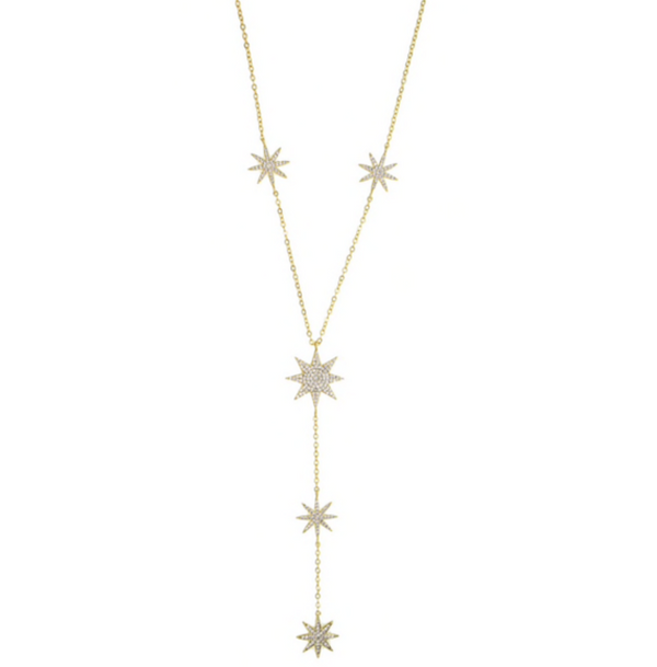 Gold Cubic Zirconia Pave Starburst Y Shape Necklace