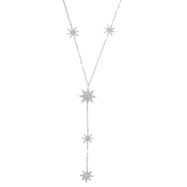 Silver Cubic Zirconia Pave Starburst Y Shape Necklace