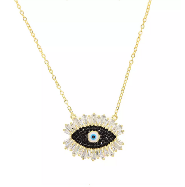 Gold Cubic Zirconia Pave Evil Eye Pendant Necklace
