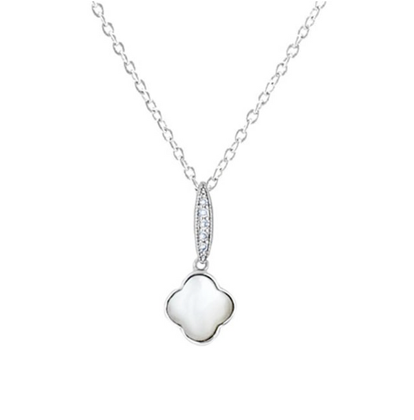 White Cubic Zirconia Clover Pendant Necklace