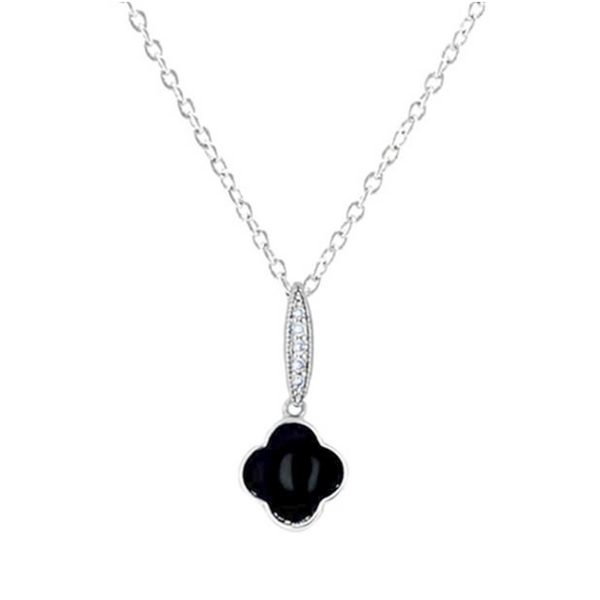 Black Cubic Zirconia Clover Pendant Necklace