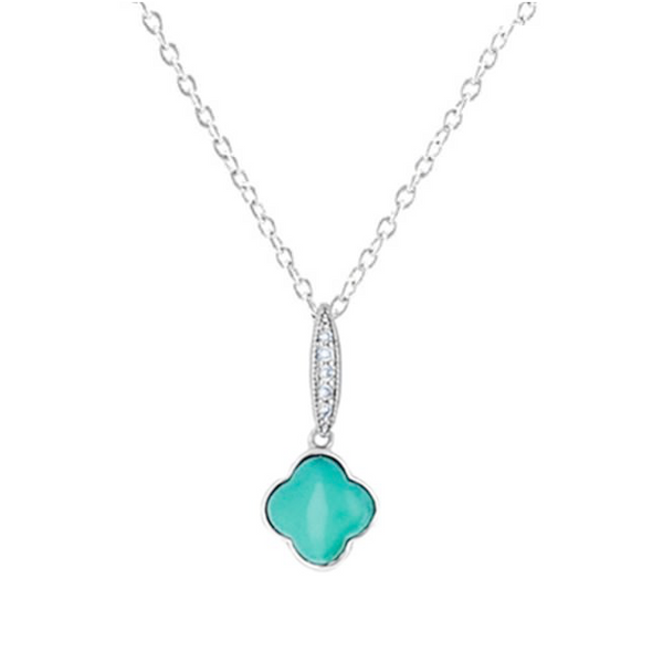 Turquoise Cubic Zirconia Clover Pendant Necklace