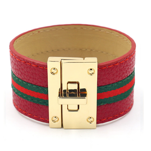 Red Striped Vegan Leather Bracelet with Gold Buckle