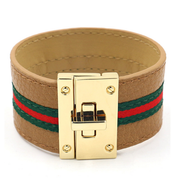 Tan Striped Vegan Leather Bracelet with Gold Buckle