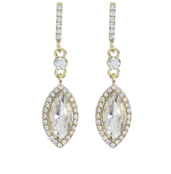 Crystal Studded Teardrop Post Dangle Earrings