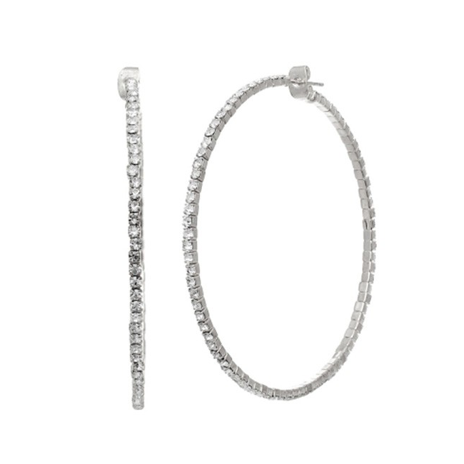 Silver Crystal Studded Hoop Earrings