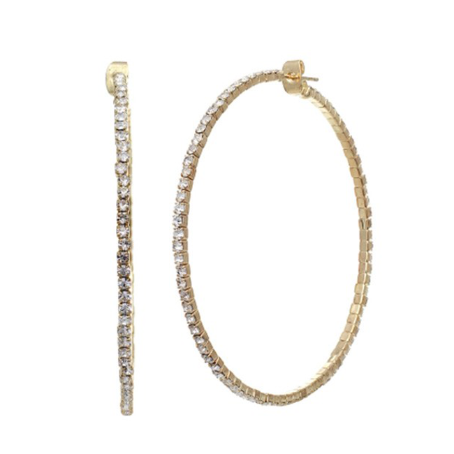 Gold Crystal Studded Hoop Earrings