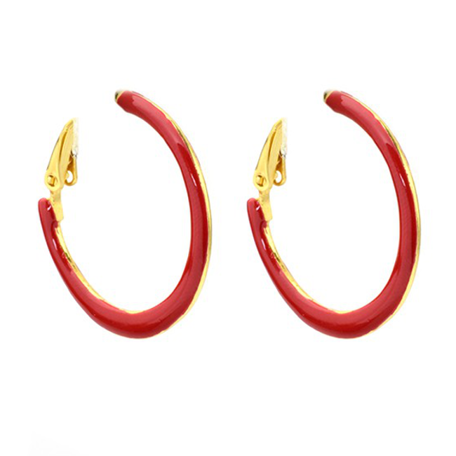 Red Enamel Hoop Earrings