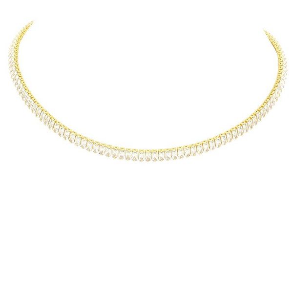 Gold Plated Cubic Zirconia Baguette Necklace