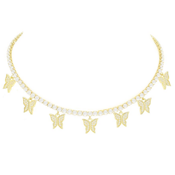Gold Plated Cubic Zirconia Pave Butterfly Tennis Necklace