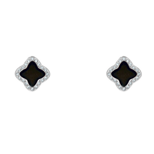 Silver Cubic Zirconia & Black Onyx Clover Post Earring