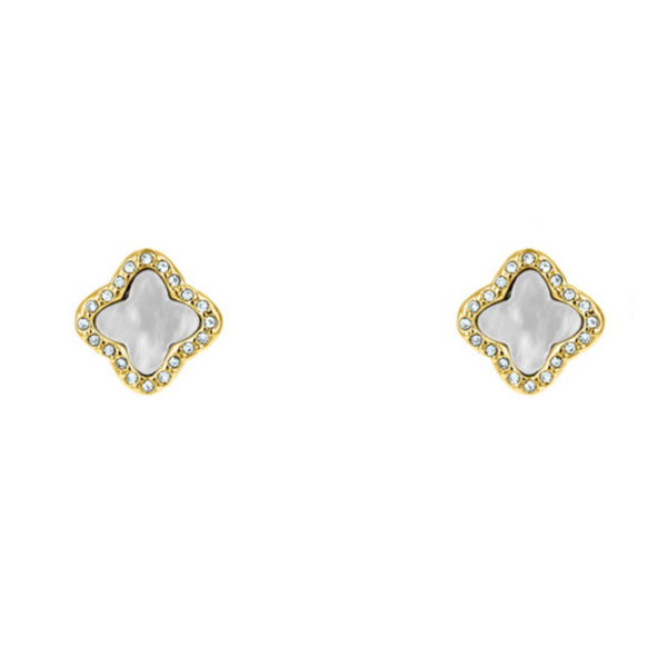 Gold Cubic Zirconia & Mother of Pearl Clover Post Earring