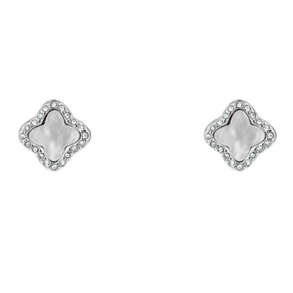 Silver Cubic Zirconia & Mother of Pearl Clover Post Earring