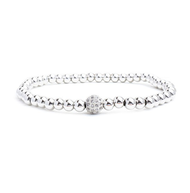 Silver Beaded Cubic Zirconia Plated Stretch Bracelet