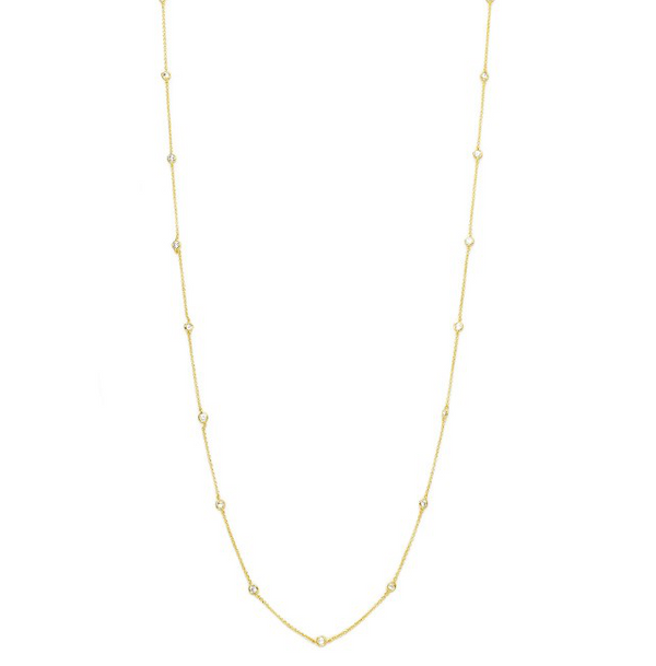 Gold Cubic Zirconia Diamond by The Yard Necklace