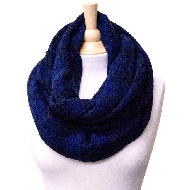 Blue Checkered Infinity Scarf