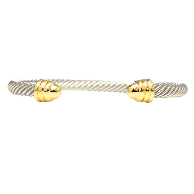 Two Tone Twisted Metal Open Cuff Bracelet