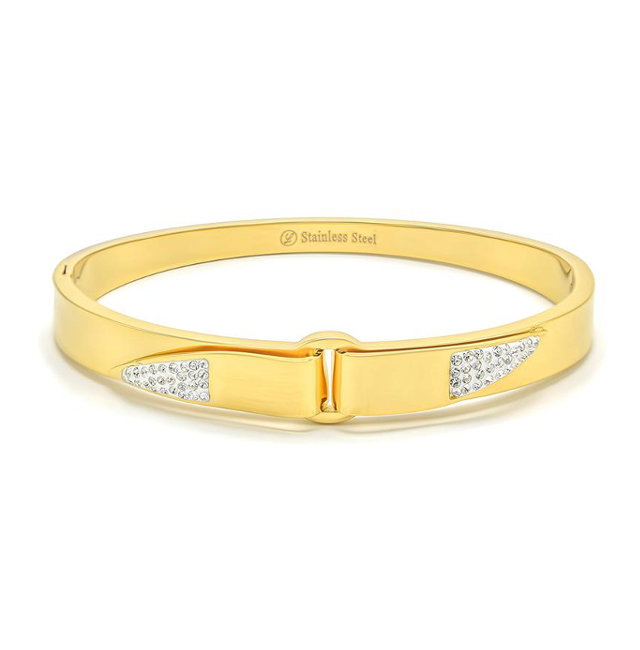 Gold Stainless Steel Cubic Zirconia Bangle Bracelet