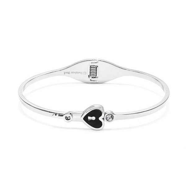 Silver Stainless Steel Cubic Zirconia Heart Bangle Bracelet