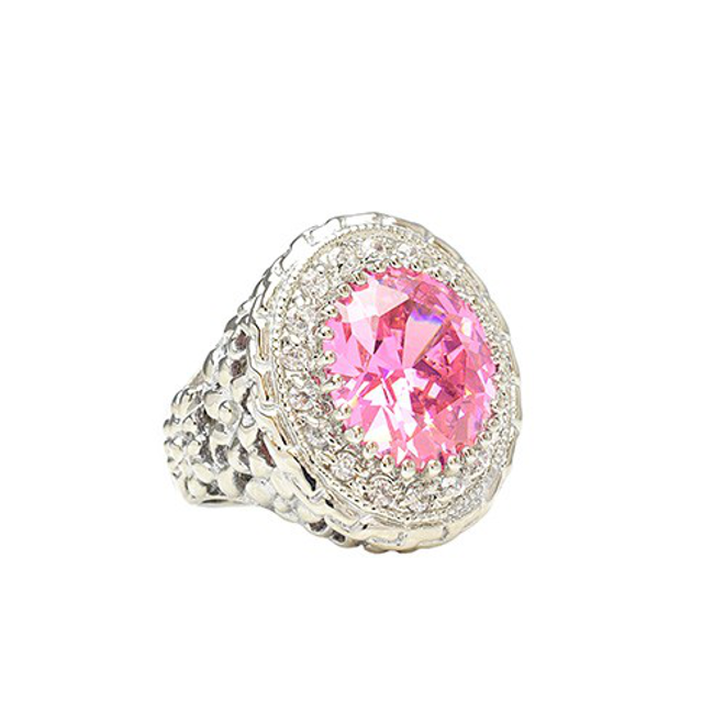 Pink and Clear Cubic Zirconia Cocktail Ring