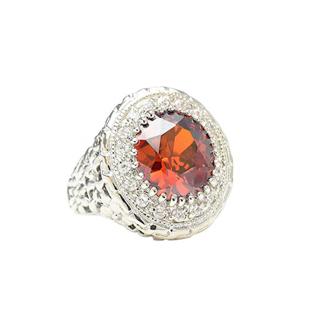 Red and Clear Cubic Zirconia Cocktail Ring