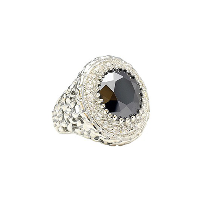 Black and Clear Cubic Zirconia Cocktail Ring