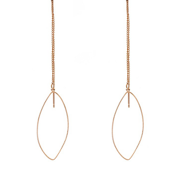 Rose Gold Pull Through Teardrop Dangle Earring