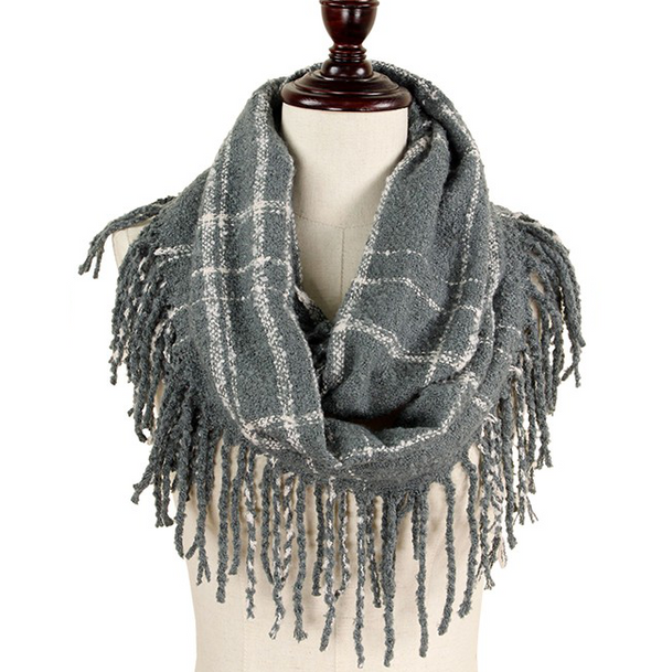 Two Tone Plaid Infinity Scarf with Fringe