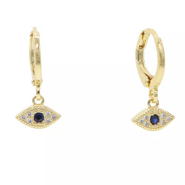 Gold Filled CZ Evil Eye Earring