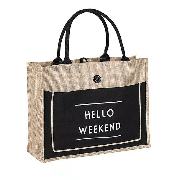 HELLO WEEKEND Medium Linen Tote Bag