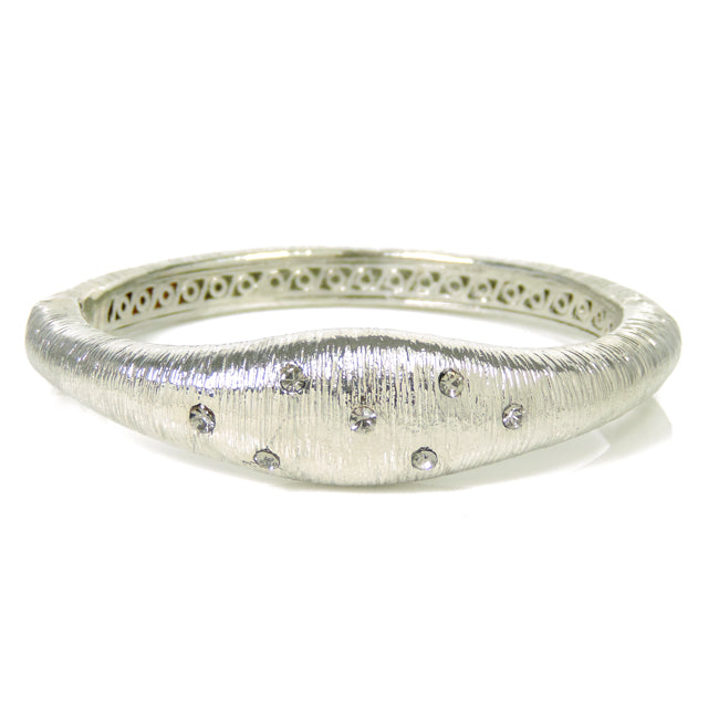 Silver Brushed Magnetic Bracelet with Clear Crystals