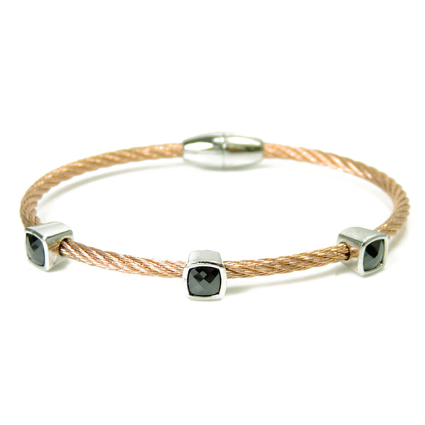 Twisted Cable Rose Gold Magnetic Bracelet w/ Jet Black Cubic Zirconia