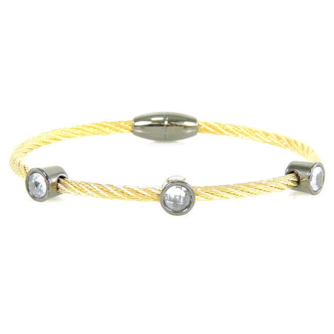 Gold Twisted Magnetic Cable Bracelet with Cubic Zirconias