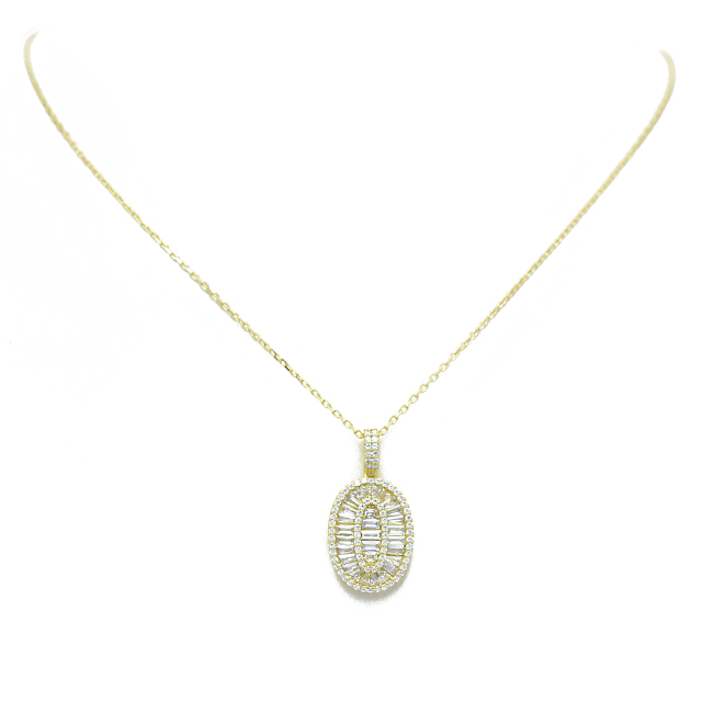 Sterling Silver Gold Plated CZ Baguette Pendant Necklace