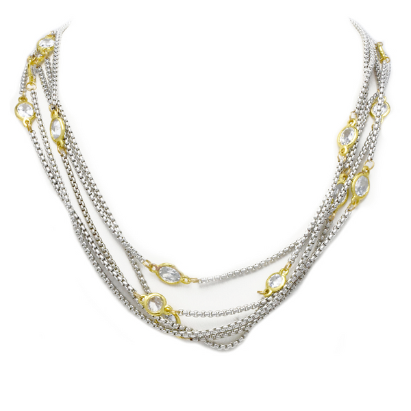 Two Tone Cubic Zirconia Multi Strand Necklace