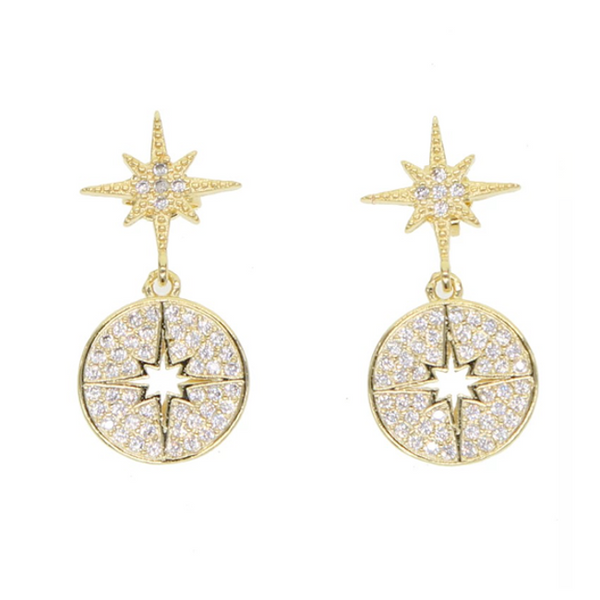 gold cz starburst dangle earring