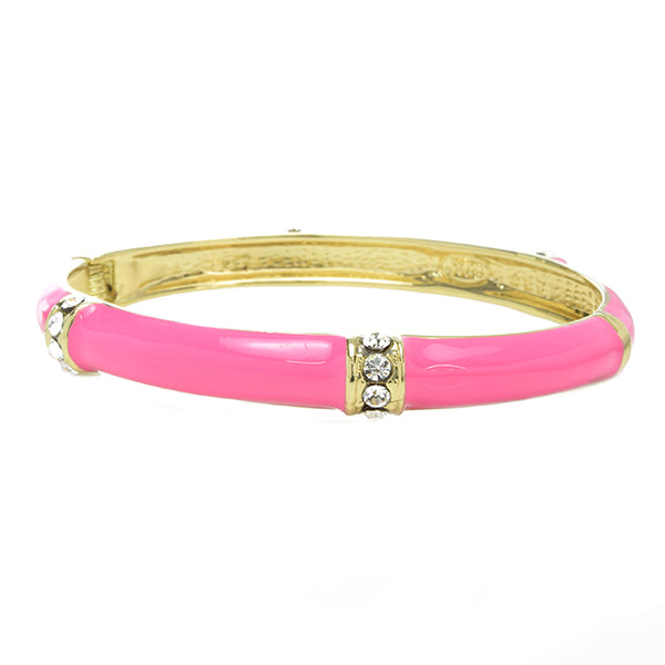 Gold & Pink Open Cuff Hinge Bracelet with Cubic Zirconias