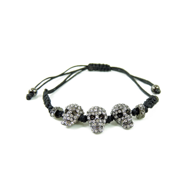 Gunmetal Pave Skull Black Cord Adjustable Bracelet