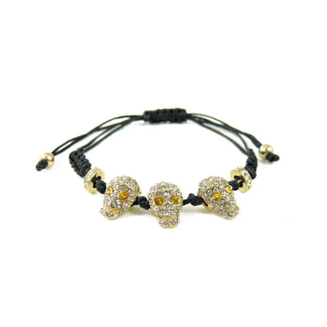 Gold Pave Skull Black Cord Adjustable Bracelet