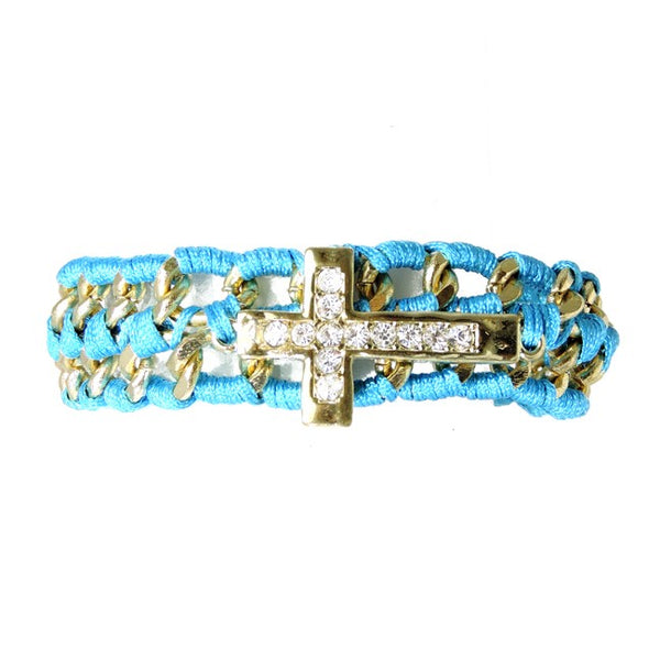 Gold Linked Chain with Turquoise Rope and Crystal Studded Cross