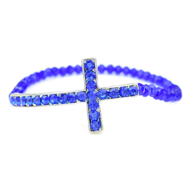 Royal Blue Cross Crystal Studded Stretch Beaded Bracelet