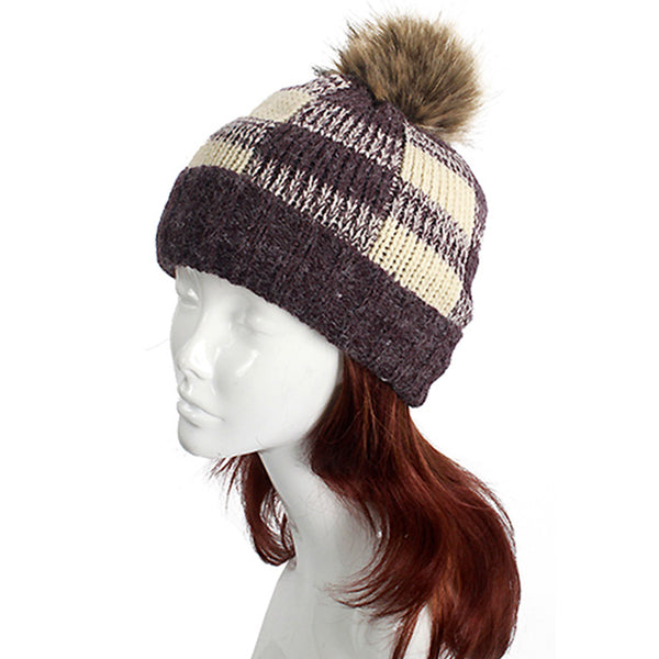 Check Pattern Knit Hat