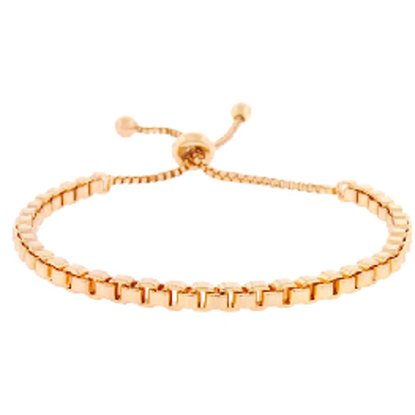 Rose Gold Square Chain Pull Tie Bracelet
