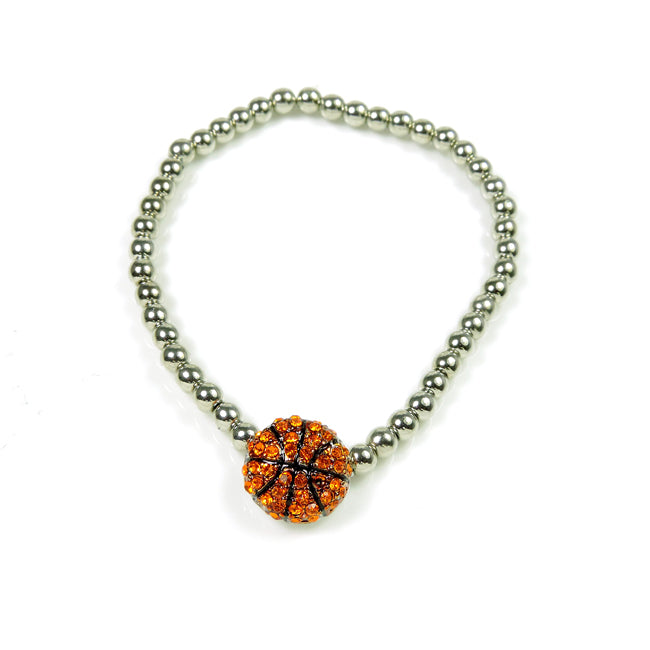 Silver Beaded Stretch Basketball Bracelet