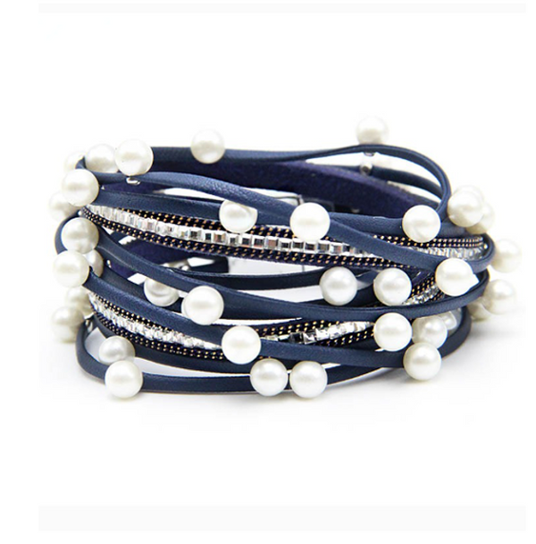 Navy Blue Vegan Leather Magnetic Wrap Bracelet with Pearls